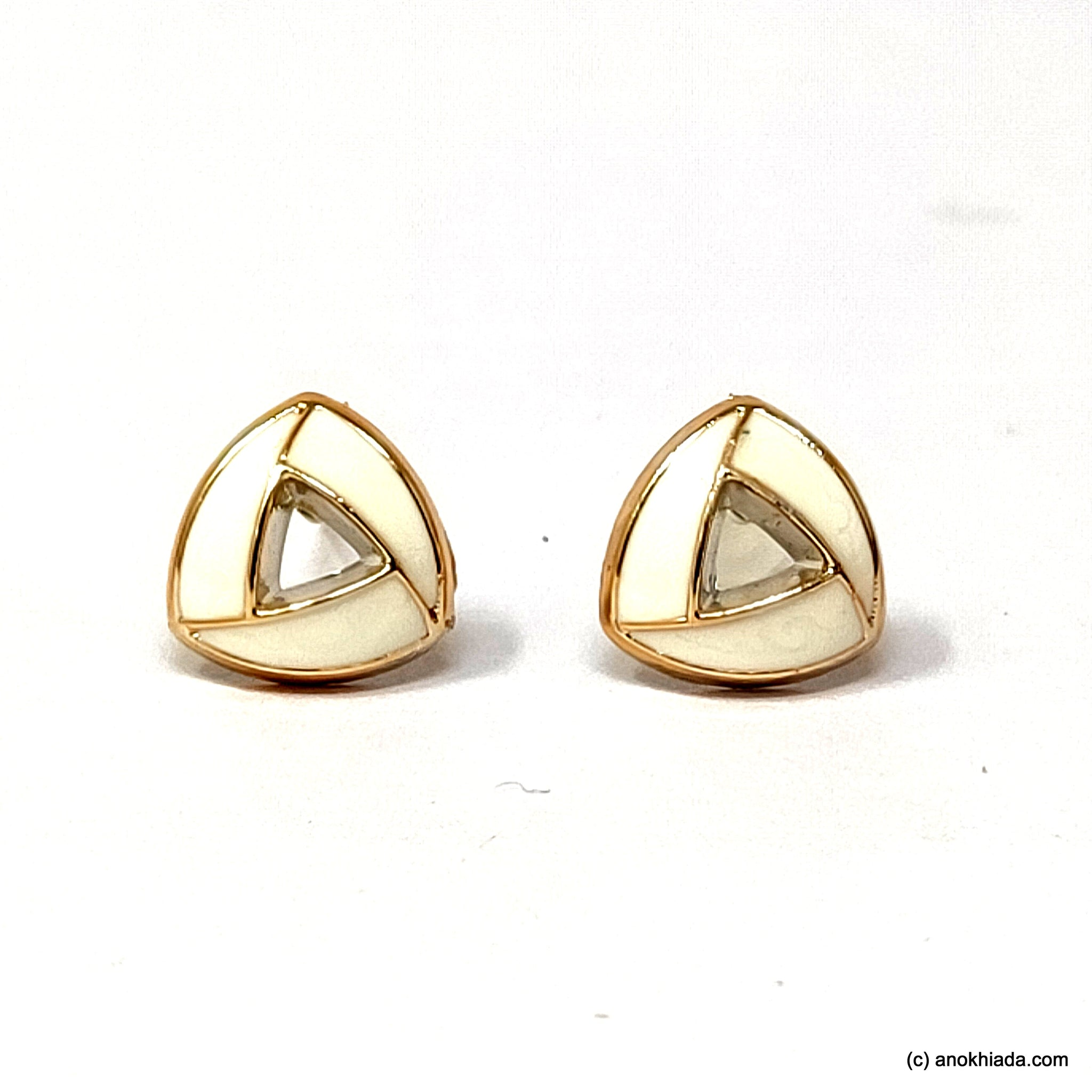 Anokhi Ada White Triangular Design Small Plastic Stud Earrings for Girls ( AR-18h)