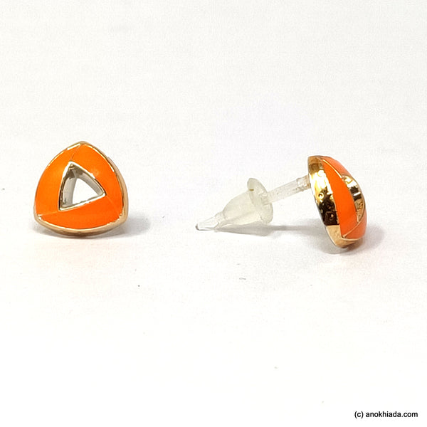 Anokhi Ada Orange Triangular Design Small Plastic Stud Earrings for Girls ( AR-18j)