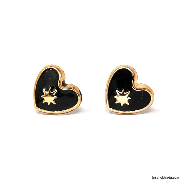 Anokhi Ada Black Heart Shaped Small Plastic Stud Earrings for Girls ( AR-18n)