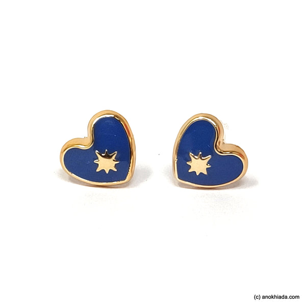 Anokhi Ada Violet Heart Shaped Small Plastic Stud Earrings for Girls ( AR-18o)