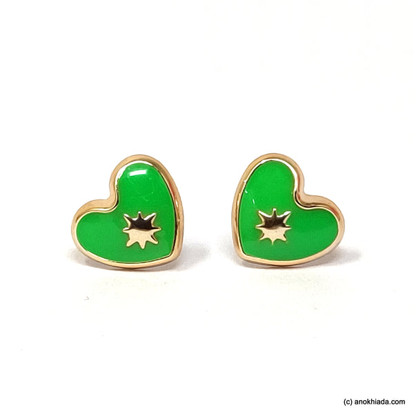 Anokhi Ada Green Heart Shaped Small Plastic Stud Earrings for Girls ( AR-18q)
