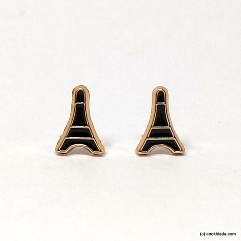 Anokhi Ada Black Eiffel Tower Shaped Small Plastic Stud Earrings for Girls ( AR-18x)