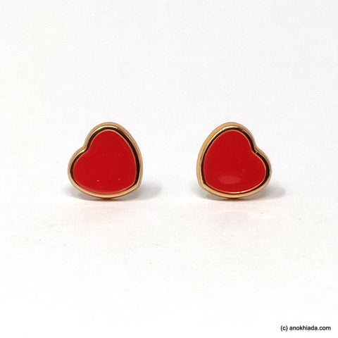Anokhi Ada Red Heart Shaped Small Plastic Stud Earrings for Girls ( AR-19a)