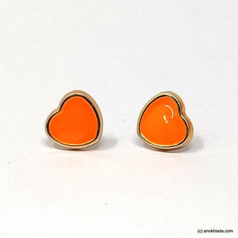 Anokhi Ada Orange Heart Shaped Small Plastic Stud Earrings for Girls ( AR-19c)
