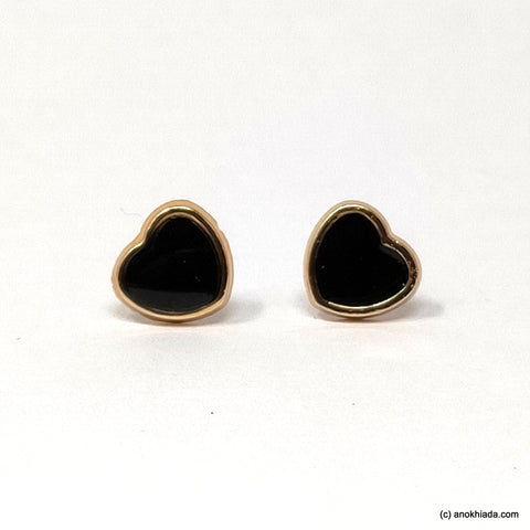 Anokhi Ada Black Heart Shaped Small Plastic Stud Earrings for Girls ( AR-19d)