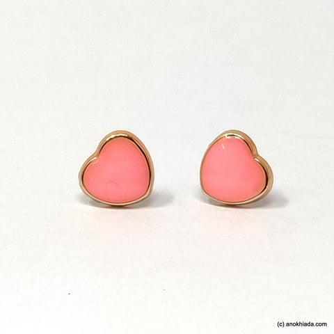 Anokhi Ada Pink Heart Shaped Small Plastic Stud Earrings for Girls ( AR-19e)