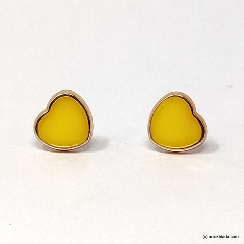 Anokhi Ada Yellow Heart Shaped Small Plastic Stud Earrings for Girls ( AR-19f)