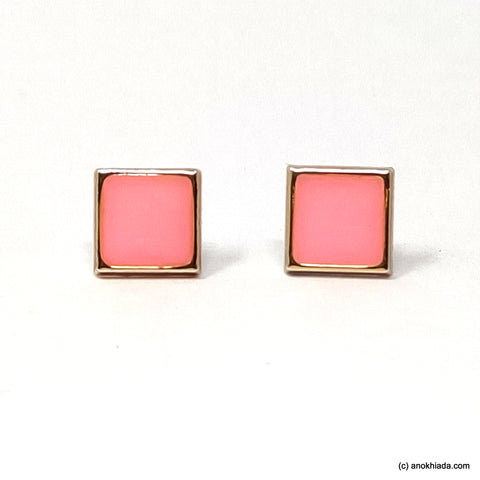 Anokhi Ada Pink Square Shaped Small Plastic Stud Earrings for Girls ( AR-19g)