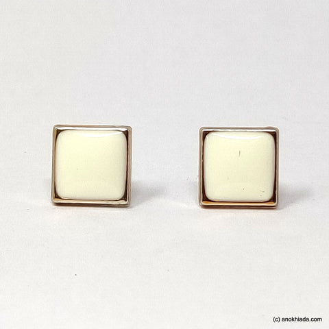 Anokhi Ada White Square Shaped Small Plastic Stud Earrings for Girls ( AR-19h)