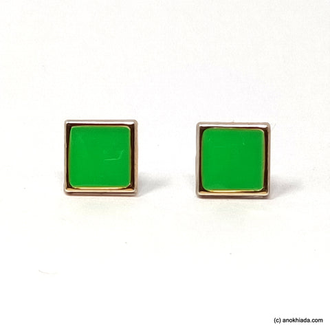 Anokhi Ada Green Square Shaped Small Plastic Stud Earrings for Girls ( AR-19i)