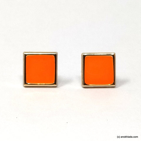 Anokhi Ada Orange Square Shaped Small Plastic Stud Earrings for Girls ( AR-19j)