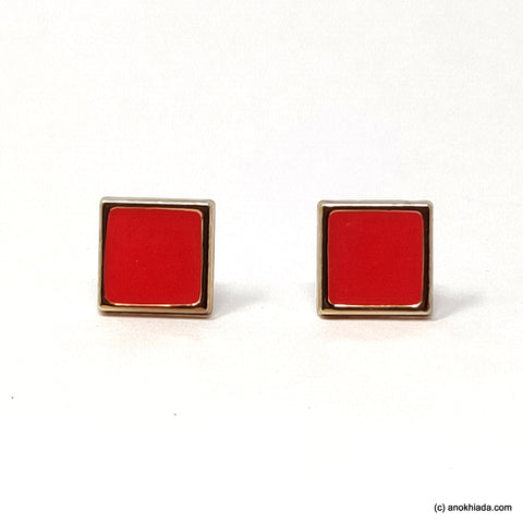 Anokhi Ada Red Square Shaped Small Plastic Stud Earrings for Girls ( AR-19l)