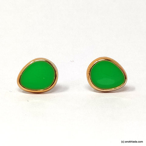 Anokhi Ada Green Pear Drop Shaped Small Plastic Stud Earrings for Girls ( AR-19q)