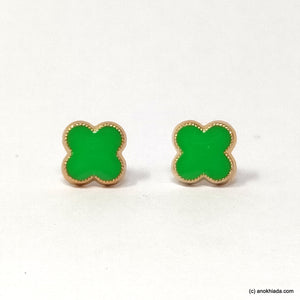Anokhi Ada Floral Green Small Plastic Stud Earrings for Girls ( AR-19s)