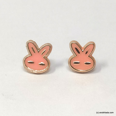 Anokhi Ada Pink Small Bunny Plastic Stud Earrings for Girls (AR-22g)