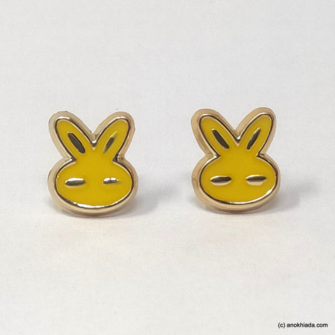 Anokhi Ada Yellow Small Bunny Plastic Stud Earrings for Girls (AR-22l)