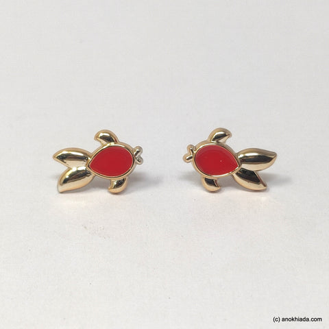 Anokhi Ada Red Small Turtle Plastic Stud Earrings for Girls (AR-22m)