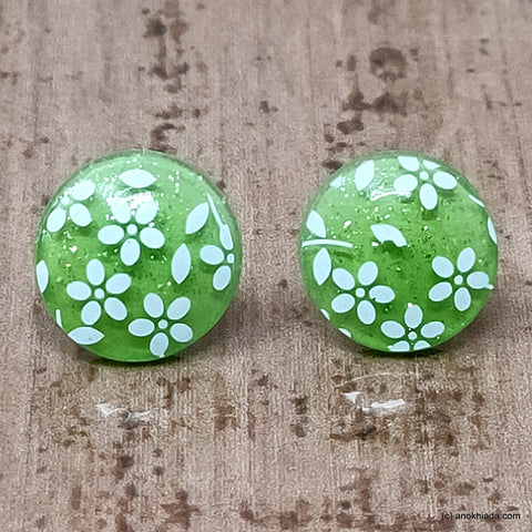 Anokhi Ada Small Round Plastic Stud Earrings for Girls ( Green, AR-27a )