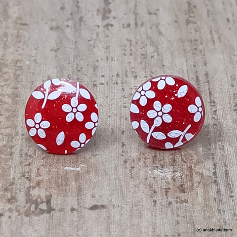 Anokhi Ada Small Round Plastic Stud Earrings for Girls ( Red, AR-27b )