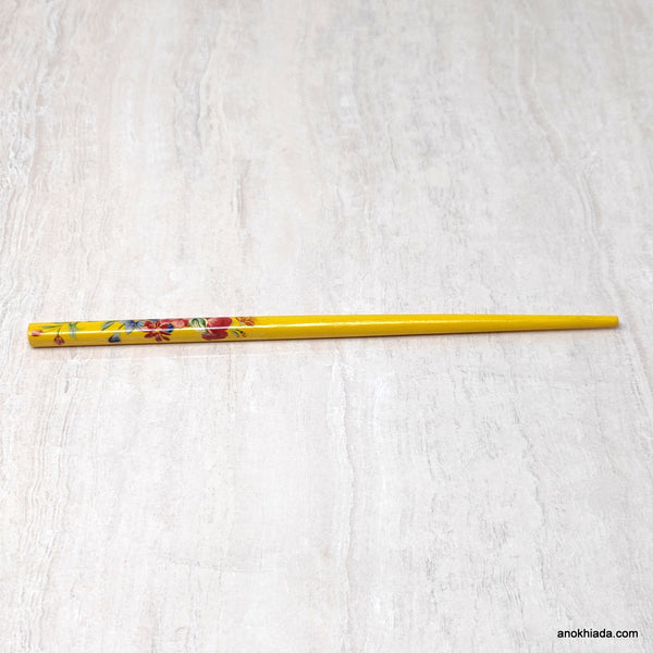 Flower Print Yellow Wooden Juda Stick/Bun Stick - (99-06D Juda Stick)
