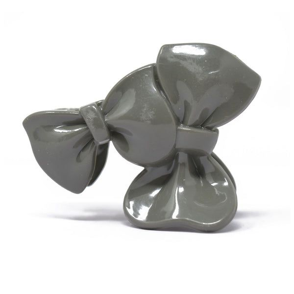 Double Bow Plastic Hair Claw (Grey) - 010