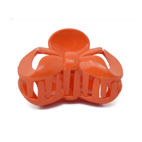 Bow Hair Claw / Clutcher for Girls and Women (Orange) - 021