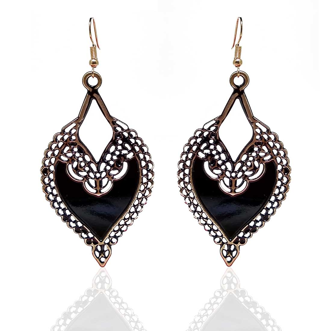 Anokhi ADA Dangle and Drop Earrings for Girls and Women (One Pair of Earrings, Black) -AP-03