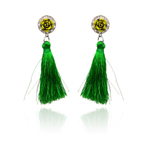 Tassel Drop Earrings for Girls and Women (Green) - AP-13