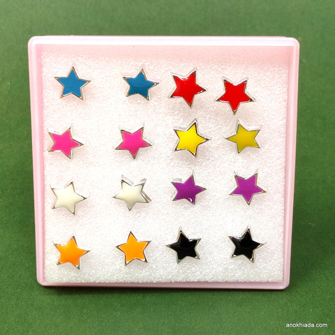 Anokhi Ada Plastic Star Stud Earrings for Girls and Women (Multi-Colour, Pack of 8 Pairs)-AR-01-a