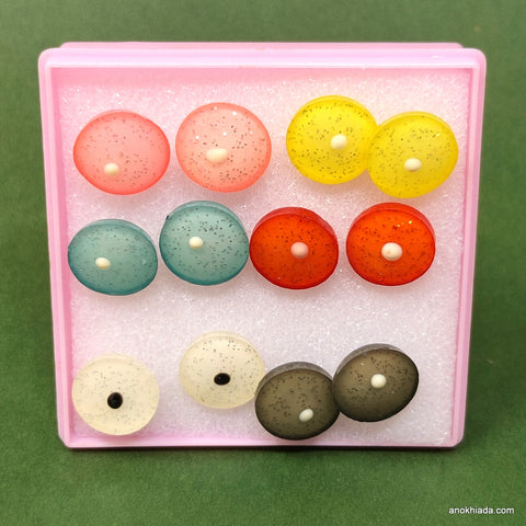 Anokhi Ada Round Stud Earrings for Girls and Women (Multi-Colour, Pack of 6 Pairs)-AR-03