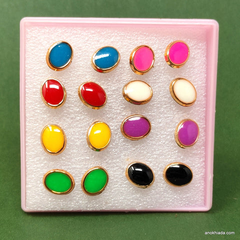 Anokhi Ada Oval Shaped Plastic Stud Earrings for Girls and Women (Multi-Colour, Pack of 8 Pairs)-AR-05