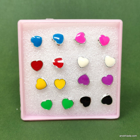 Anokhi Ada Heart Shaped Plastic Stud Earrings for Girls and Women (Multi-Colour, Pack of 8 Pairs)-AR-08-a