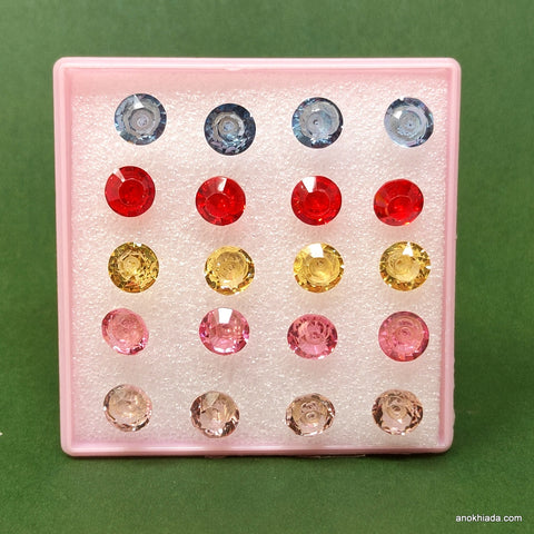Anokhi Ada Crystal Plastic Stud Earrings for Girls and Women (Multi-Colour, Pack of 10 Pairs)-AR-09