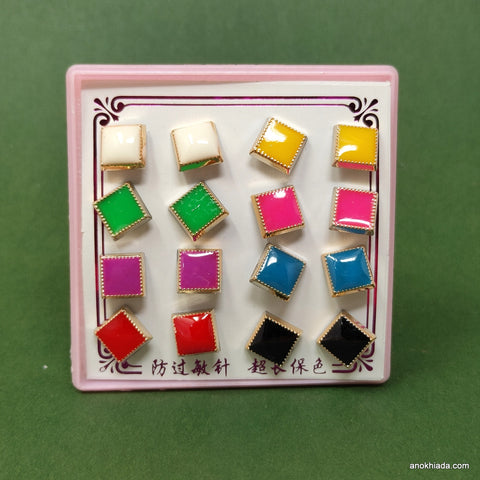 Anokhi Ada Square Plastic Stud Earrings for Girls and Women (Multi-Colour, Pack of 8 Pairs)-AR-10