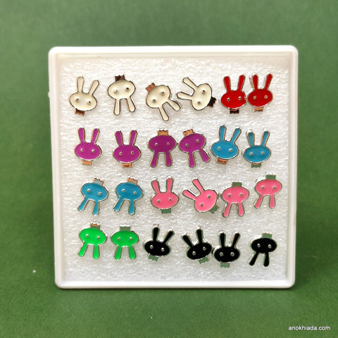 Anokhi Ada Bunny Plastic Stud Earrings for Girls and Women (Multi-Colour, Pack of 12 Pairs)-AR-11