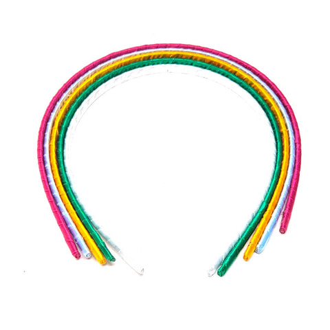 Anokhi Ada Ribbon on Plastic Hairbands / Headbands for Kids and Girls (Multi-Colour, Pack of 5) - 09-06H