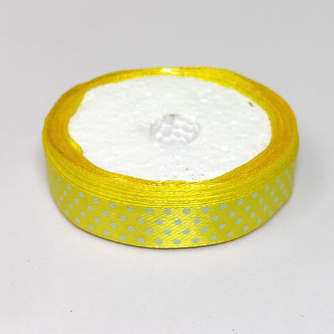 12.5 mm (Half Inch) Dot Print Lemon Yellow Satin Ribbon (021)