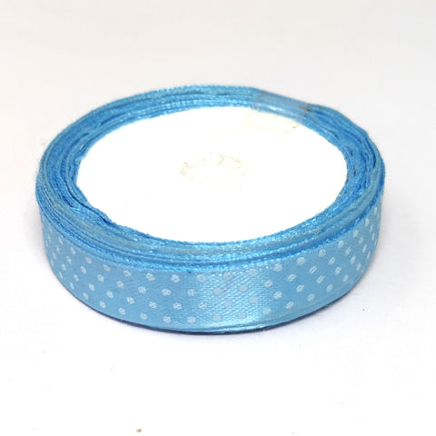 12.5 mm (Half Inch) Dot Print Sky Blue Satin Ribbon (023)