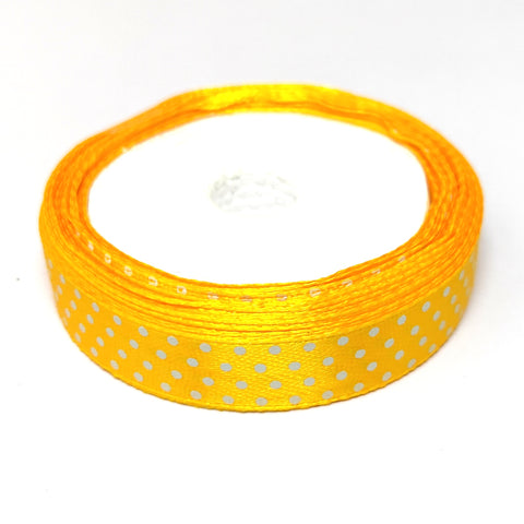 12.5 mm (Half Inch) Dot Print Yellow Satin Ribbon (027)
