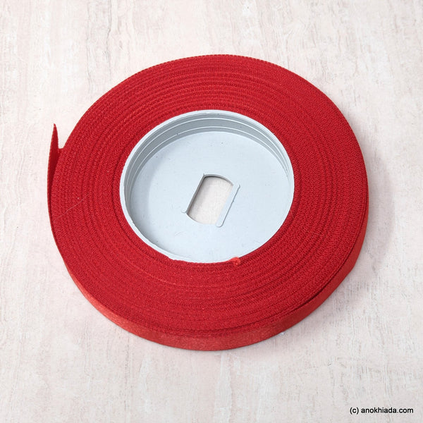 Anokhi Ada 12.5mm (Half inch) Red Double Side Satin Ribbon (Ribbon-044)