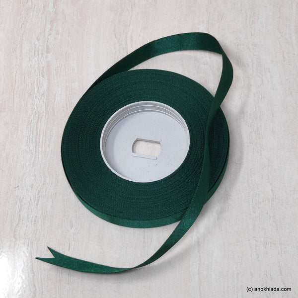 Anokhi Ada 12.5mm (Half inch) Dark Green Double Side Satin Ribbon (Ribbon-046)