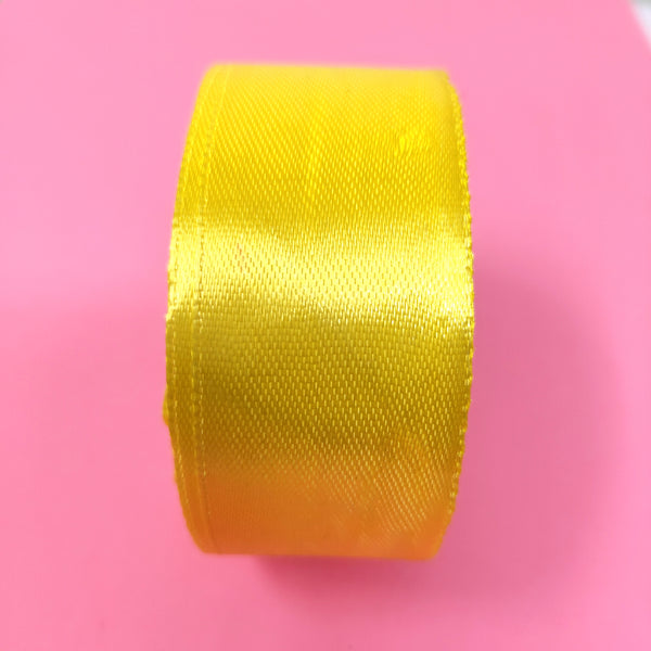 25mm (1 inch) Yellow Satin Ribbon (004)