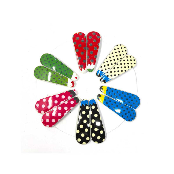Anokhi Ada Multi-Colour Dots Textured Plastic on Metal Tik-Tak Hair Clips for Girls and Women-(ZB-09, Set of 12 Tik-Tak Hair Clips)