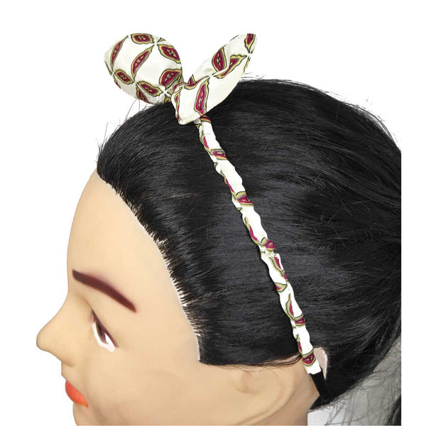 Anokhi Ada Bunny Ear Multi -Colour Fabric on Metal Hairband/Headband for Girls and Women-(ZC-10)