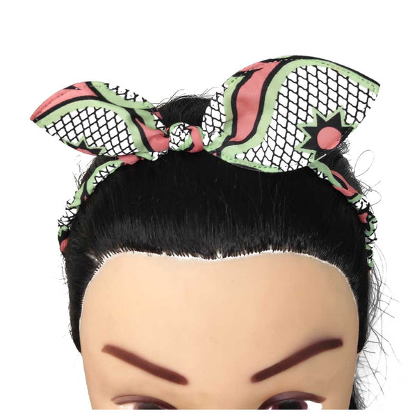 Anokhi Ada Bunny Ear Multi -Colour Fabric on Metal Hairband/Headband for Girls and Women-(ZC-11)