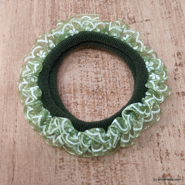 Anokhi Ada Green Hair Tie/Ponytail Holder for Girls and Women ( 2 Pcs, ZG-05 )