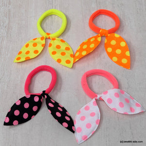 Anokhi Ada Polka Dot Print Hair Ties/ Hairbands for Girls and Women (ZG-40 Ponytail Holders, 4 Pcs Assorted Colour Rubber)