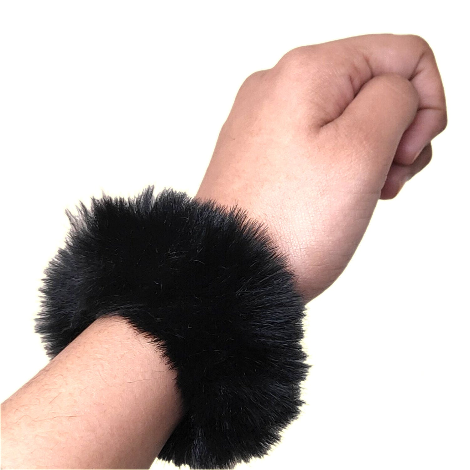 Anokhi Ada Large Size Black Fur Scrunchie for Girls and Women (ZG-42 Scrunchie)
