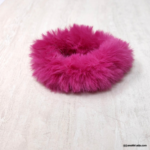 Anokhi Ada Pink Fur Scrunchie for Girls and Women (ZG-48 Scrunchie)