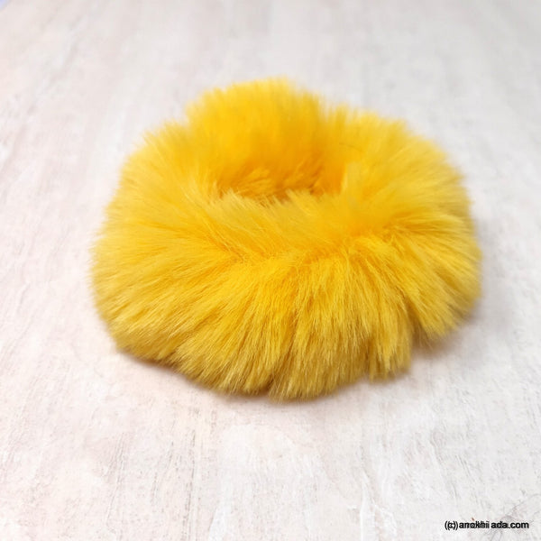 Anokhi Ada Yellow Fur Scrunchie for Girls and Women (ZG-52 Scrunchie)